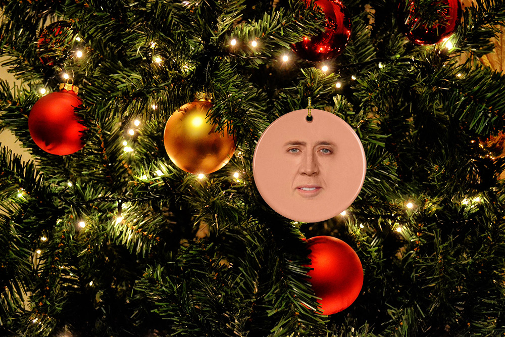 Nicolas Cage Face Christmas Ornament - Funny white elephant gift