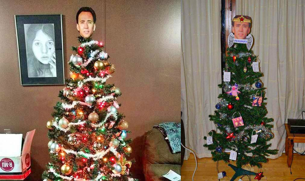 Nicolas Cage Face Christmas Tree Topper