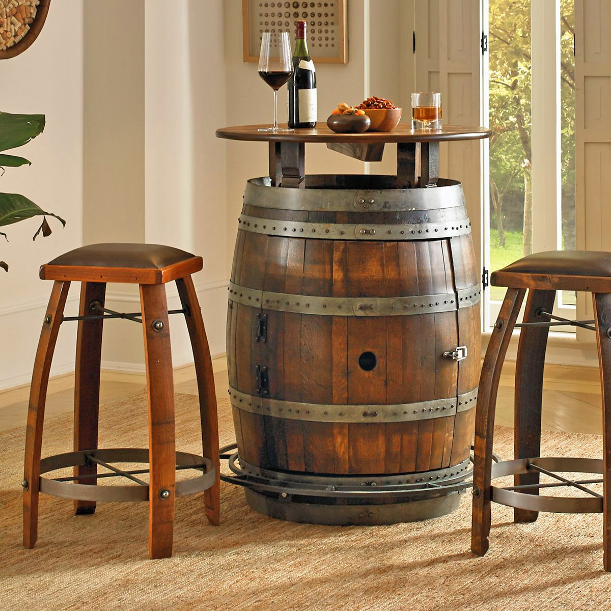 This Ultimate Wine Barrel Table Has A Hidden Storage Area