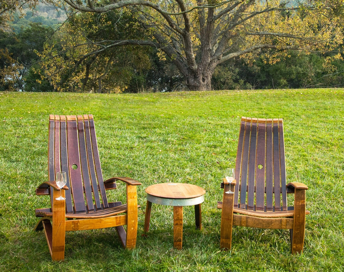 Adirondack Chair Made From an Old Wine Barrel - Wooden Wine Glass holding chair - Wine slot chair