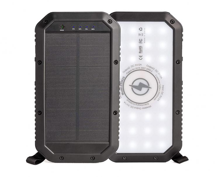 Wireless Charging Solar Powered Phone Charger Battery With Flashlight - Best solar phone charger