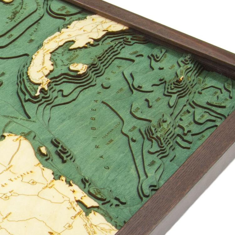 Bathymetric Wooden Layered Chart Map
