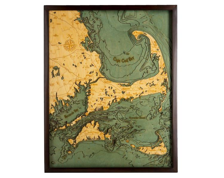 Bathymetric Wooden Layered Chart Map - Cape Cod