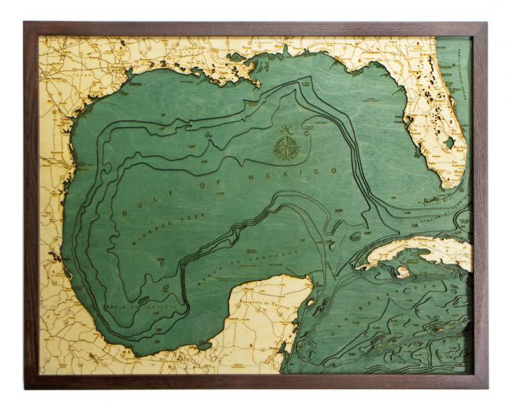 Bathymetric Wooden Layered Chart Map - Gulf