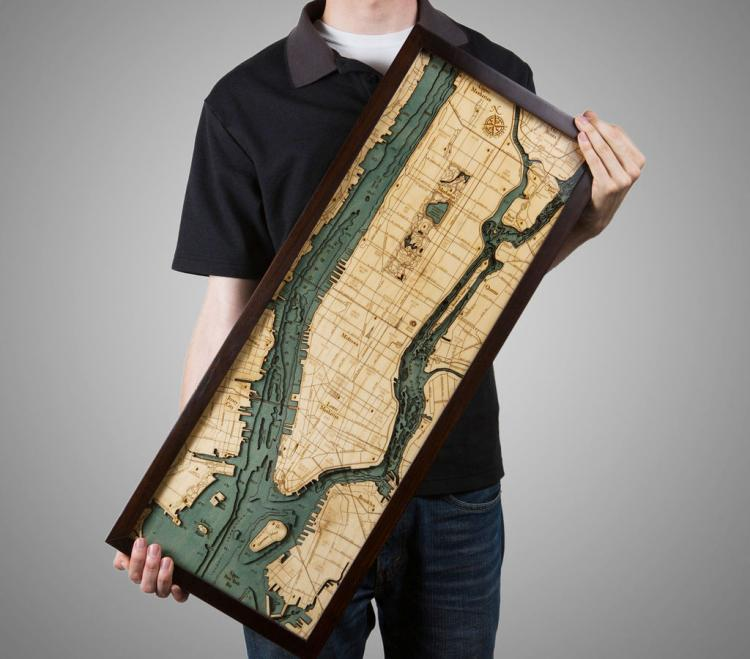 Bathymetric Wooden Layered Chart Map - Manhattan