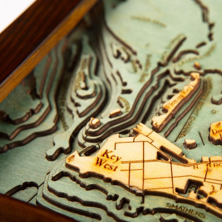 Bathymetric Wooden Layered Chart Map - Key West