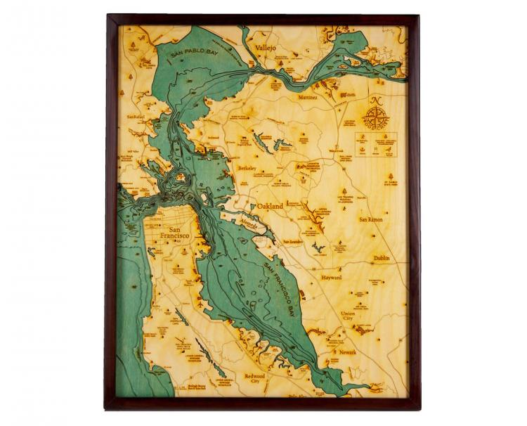 Bathymetric Wooden Layered Chart Map - San Francisco