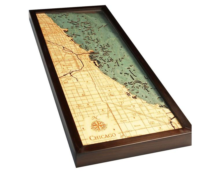 Bathymetric Wooden Layered Chart Map - Chicago