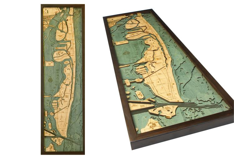 Bathymetric Wooden Layered Chart Map - Miami Beach