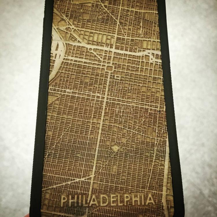 Wooden Map Engraved iPhone Phone Cases