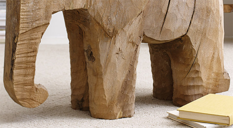 Wooden Elephant Side Table - Hand Sculpted wooden elephant
