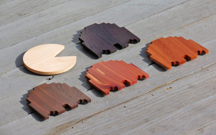 Wooden Pac-Man Coasters