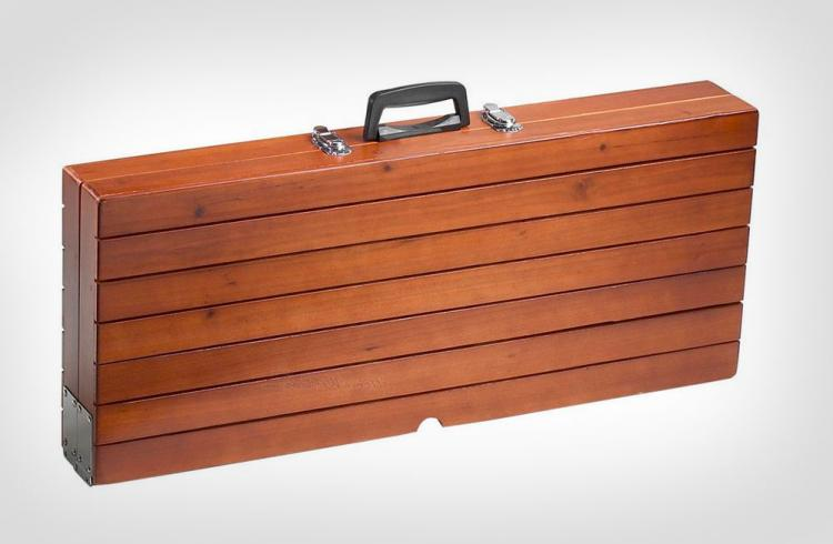 wooden picnic table folds into briefcase