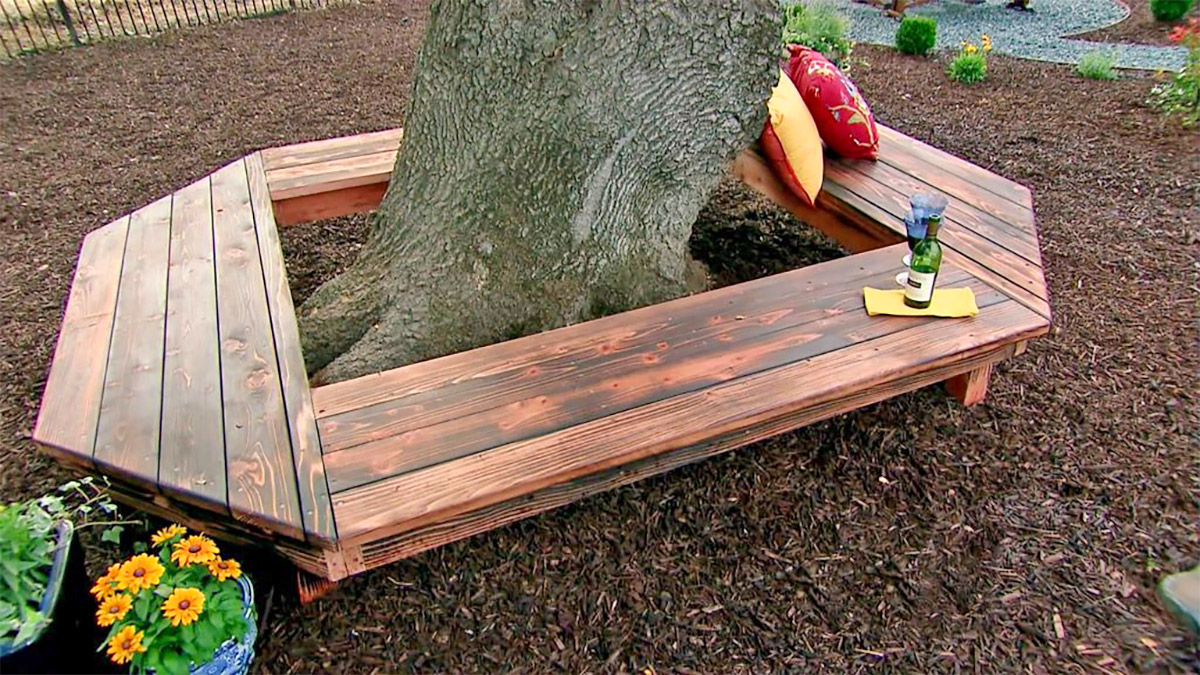 Wrap-Around Tree Bench - Wrapping wooden tree table