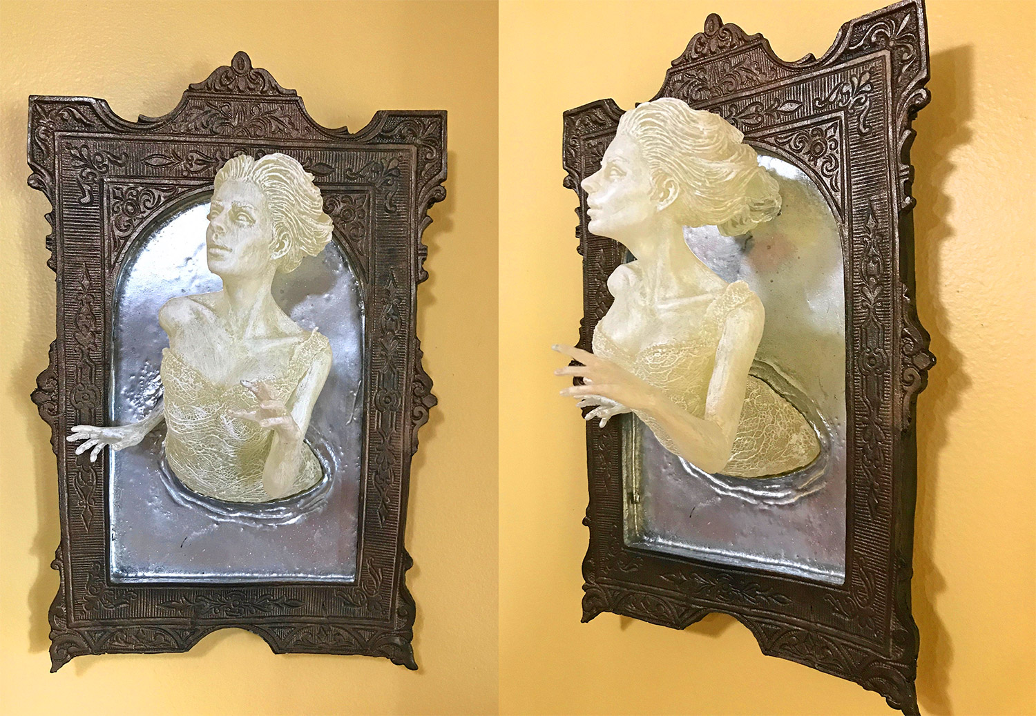 Super Creepy Ghost In The Mirror Wall Plaque That Glows In The Dark - 3D Mirror Ghost Figure Sculpture