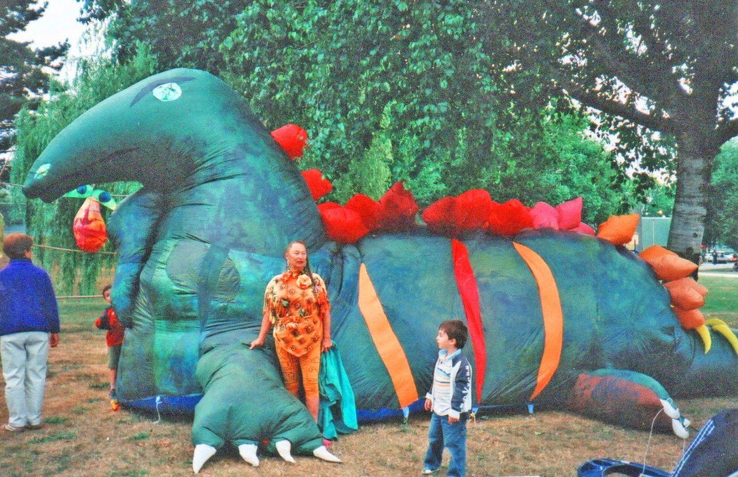 Giant inflatable dinosaur