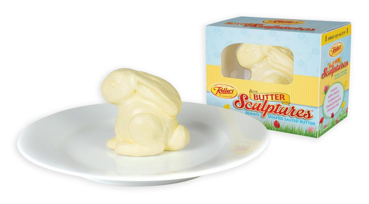 Bunny Shaped Butter Sculpture For Easter Table Decor