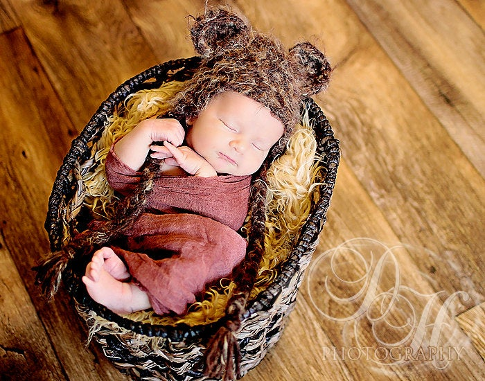 Adorable Knit Ewok Hat - Ewok crochet winter hat - Best star wars newborn photoshoot hat