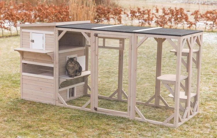 Luxury Cat Apartment - Outdoor cat house with balconyLuxury Cat Apartment - Outdoor cat house with balcony - Trixie natura Cat Home XXL - Gatsby Cat House