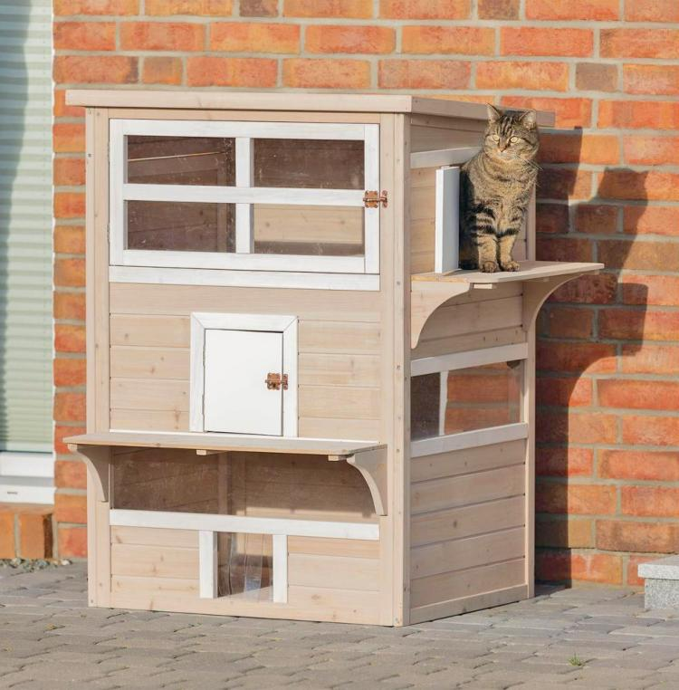 Luxury Cat Apartment - Outdoor cat house with balcony - Trixie natura Cat Home XXL - Gatsby Cat House