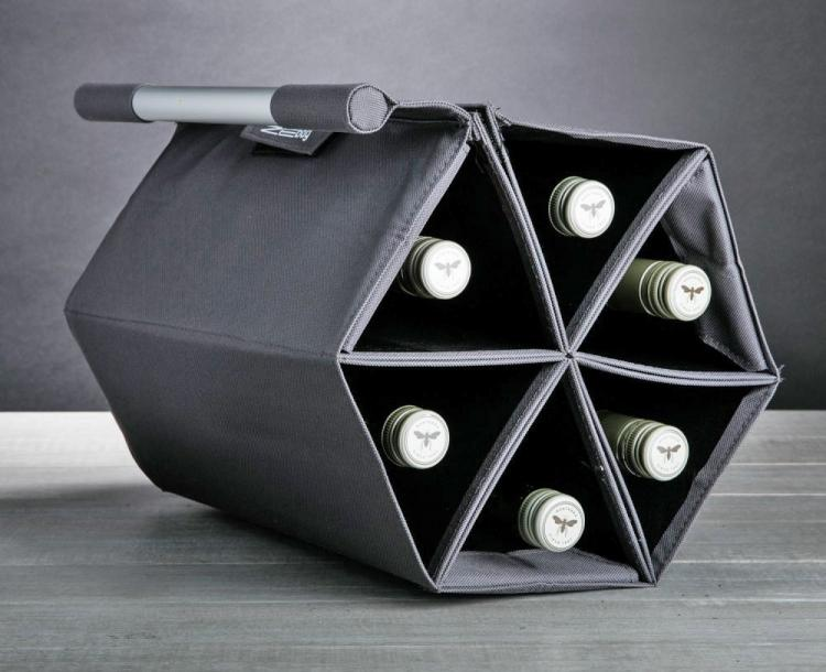 ZEBag Folding Wine Carrying Case Holds 6 Bottles Of Wine - Portable wall mounted wine holder
