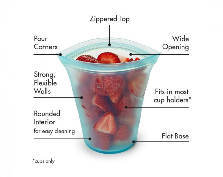 Zip Top Containers - Flexible silicone bag containers stand on their own and zip shut - Best tupperware replacement