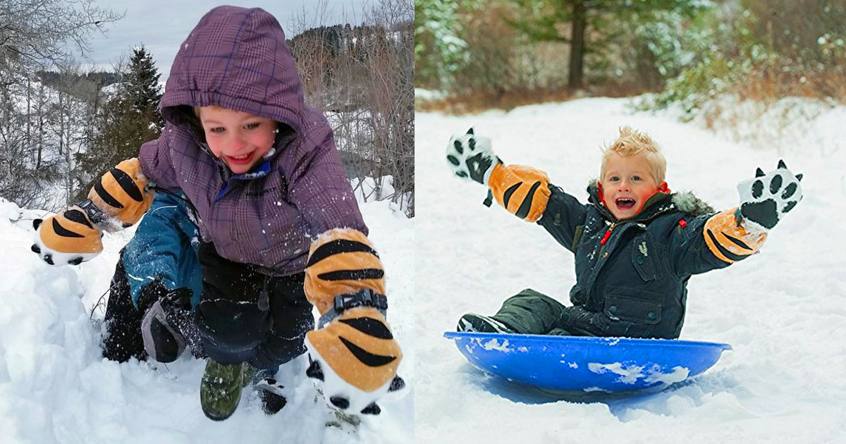 Veyo Mittyz: Tiger Paw Shaped Winter Mittens For Kids