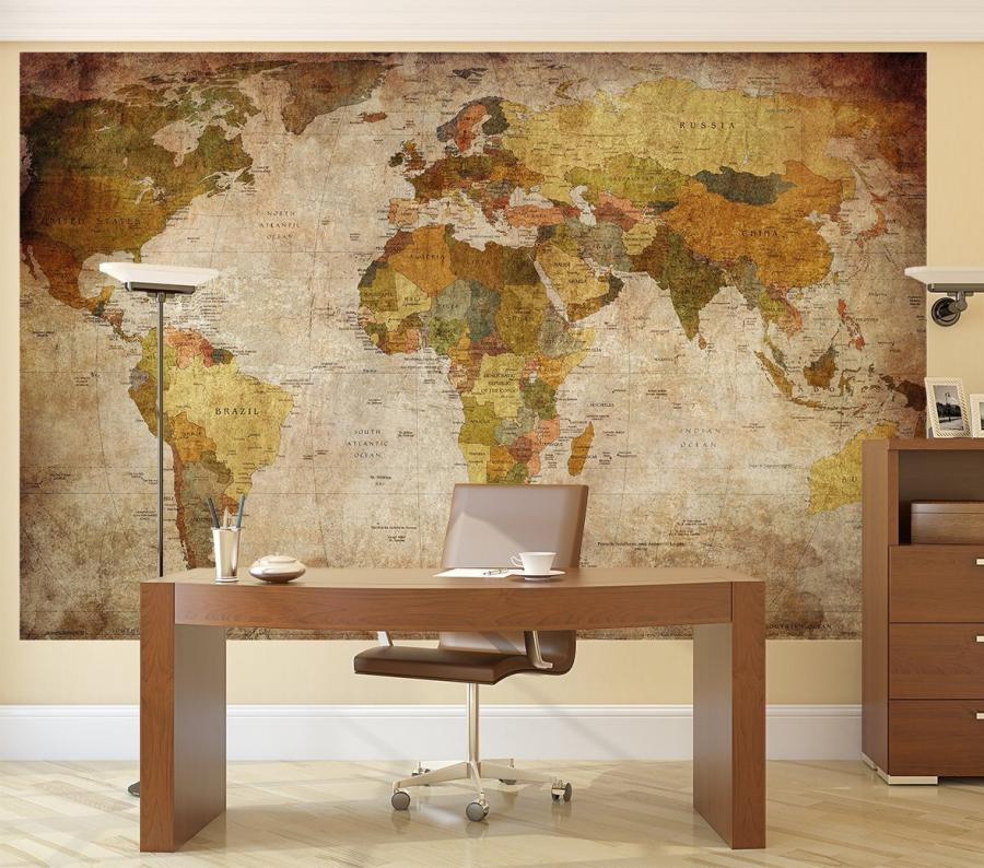 Vintage world map wall mural theres nothing classier than having a giant map as the backdrop to your office or man sanctuary it makes you think you know a lot about the world and gumiabroncs Images