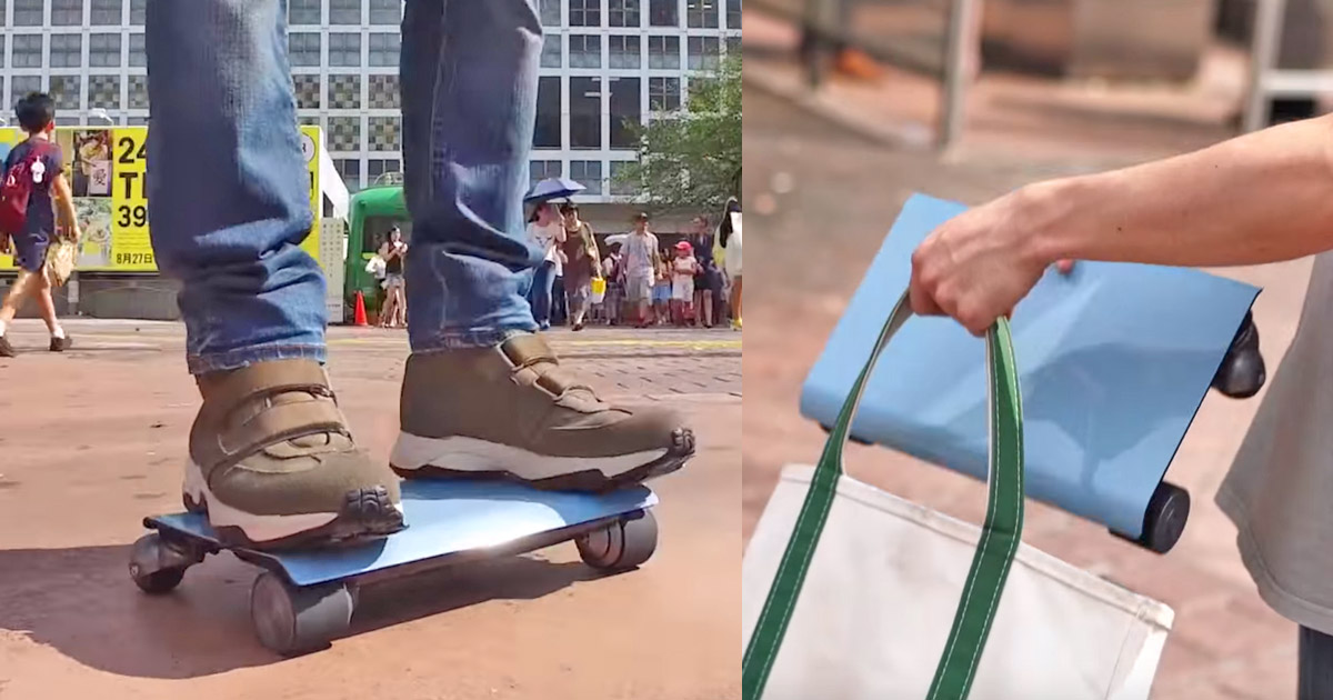 Walk Car: Flat Electric Hoverboard Scooter That Looks Like a Laptop