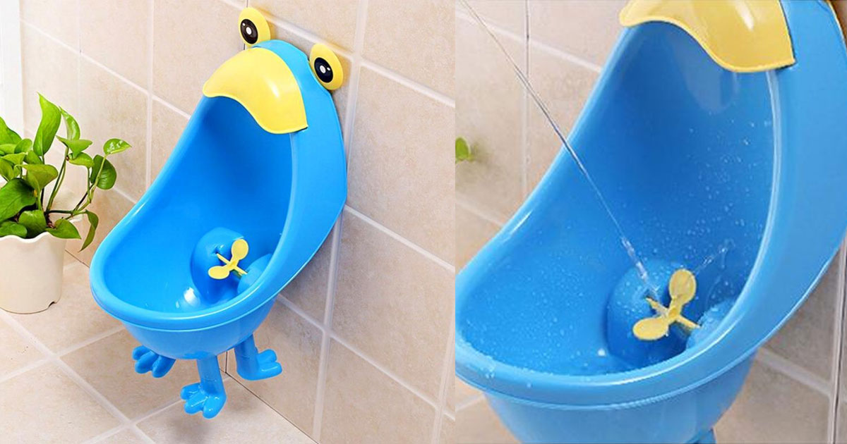 Wall Mounted Training Urinal Has a Target That Spins When Your Child Pees On It
