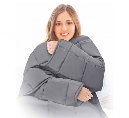 There's Now a Snuggie-Like Weighted Blanket With Sleeves To Calm Your Nerves On The Go