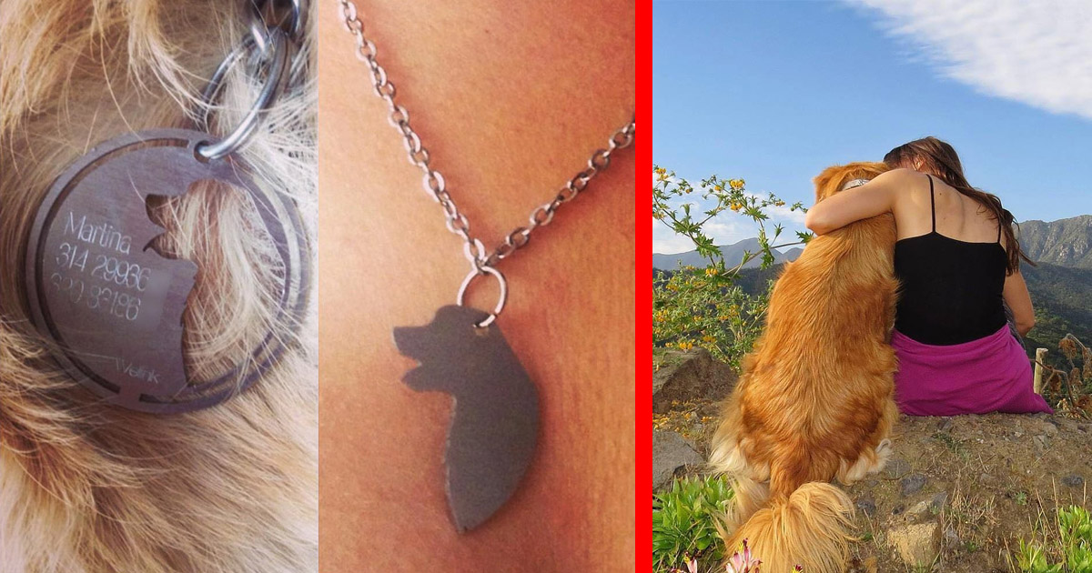These Incredible Dog Tags Have a Cut-Out That Let You Share a Necklace With Your Dog