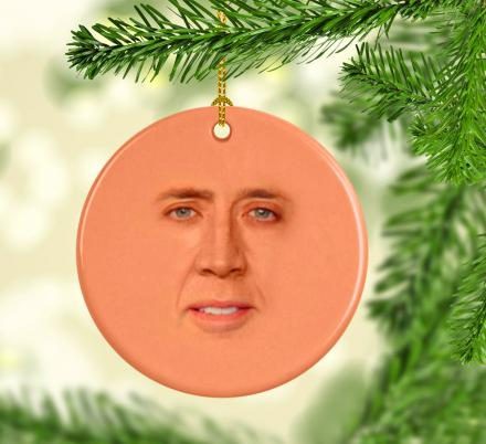 When all Else Fails, this Nicolas Cage Face Christmas Ornament Will Make a Great Backup Gift Idea
