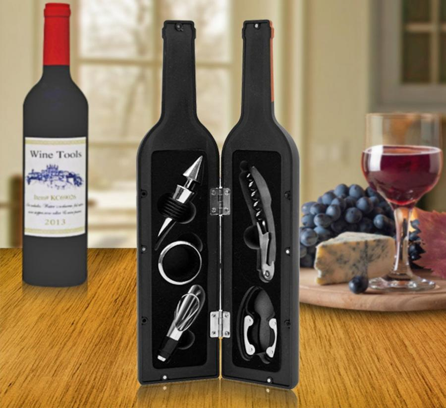 Wine Tools That Come In A Wine Bottle Shaped Container
