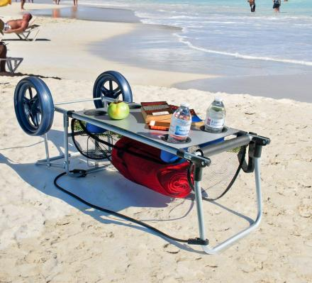This Ingenious Beach Cart Converts Into a Beach Table With Integrated Cupholders