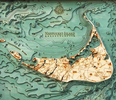 Wooden Bathymetric Water Depth Charts For Various Bodies Of Water