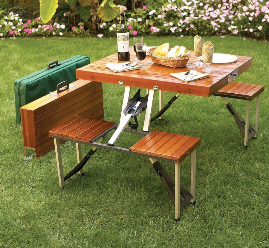 this wooden picnic table folds down to a briefcase for easy transport. Black Bedroom Furniture Sets. Home Design Ideas