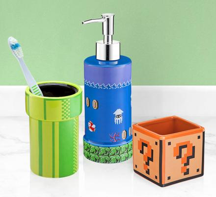 Super Mario Warp Pipe Toothbrush Holder and More Mario Bathroom Products