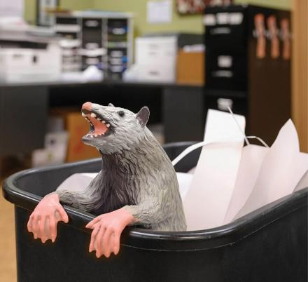 You Can Now Get a Fake Possum To Clip Onto Your Office Garbage Can