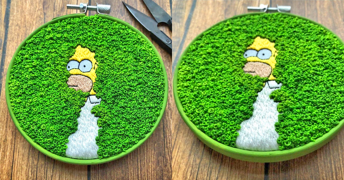 You Can Now Get a Homer Backing Up Into The Bushes Embroidery To Brighten Up Your Home
