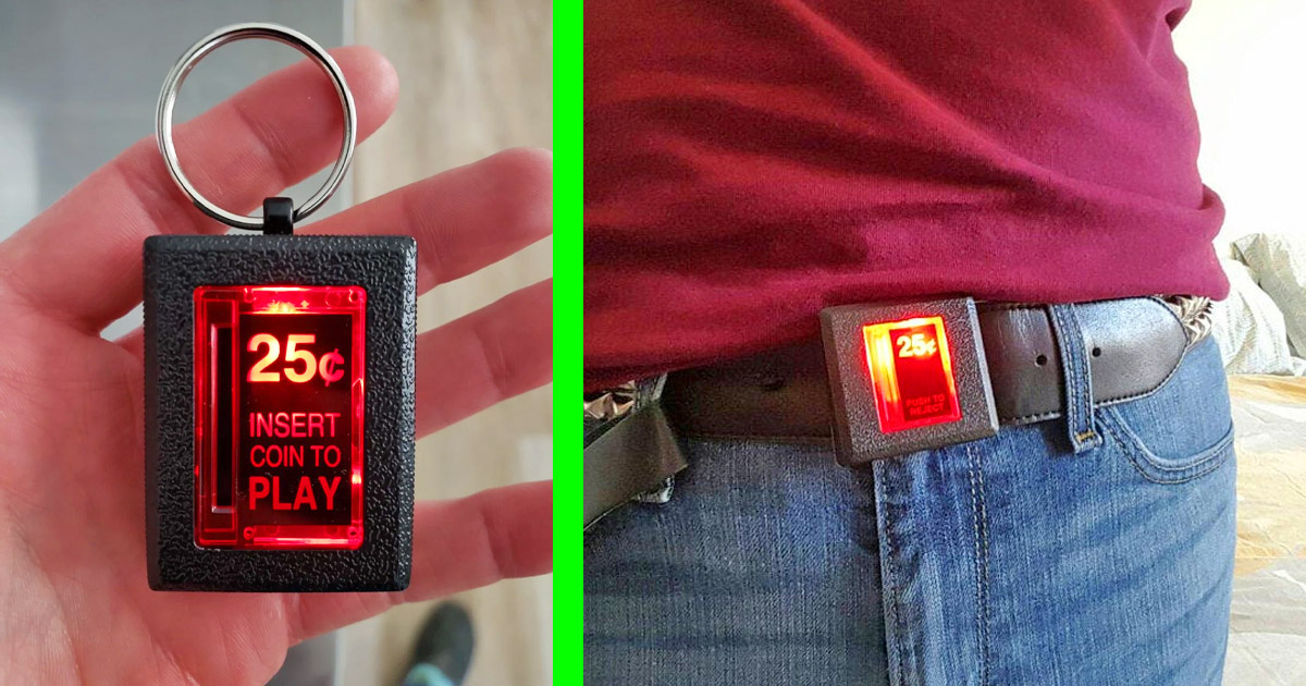 You Can Now Get An Insert Coin Arcade Key-Chain Or Belt Buckle That Actually Lights Up