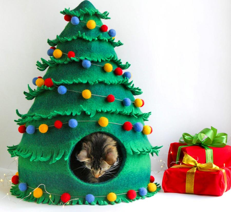 Your Cat Can Now Get A Christmas Tree Cat Bed To Sleep In