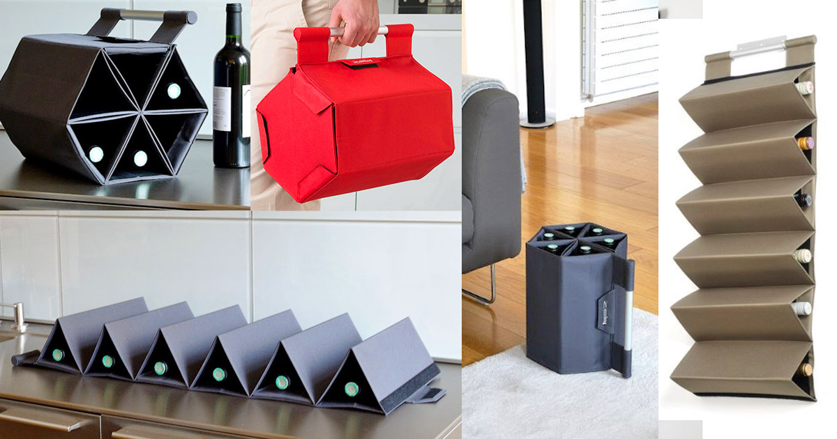 ZEBag: A Folding Wine Carrying Case Holds 6 Bottles Of Wine