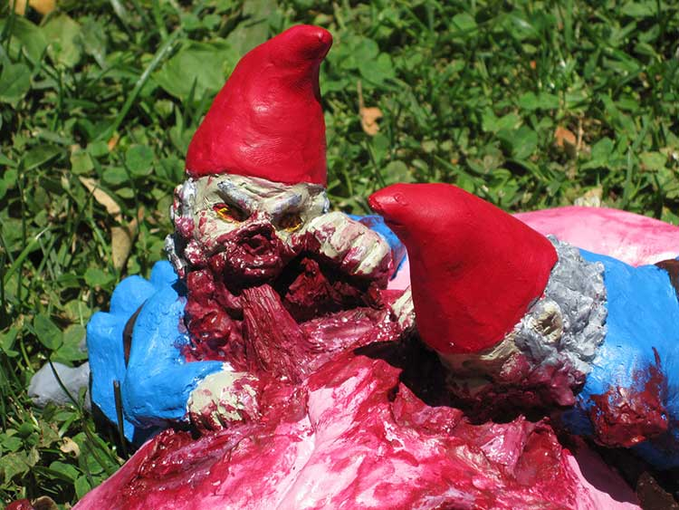Zombie Gnomes Feasting On Flamingo